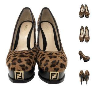 Fendi Heels cheetah print fur  36.5